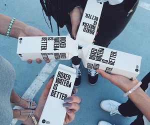 water, friends, and boxed water image