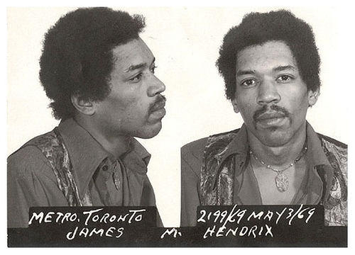 Jimi Hendrix, mugshot, and music image