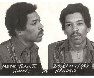 Jimi Hendrix mugshot from his May 3, 1969 arrest at Toronto International Airport. He was charged with heroin possession but the charges were dropped later that year in December.