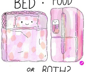 bed, food, and perfection image
