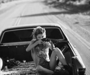 girl, gun, and car image