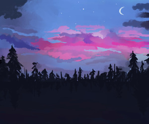 nature, night, and tree image