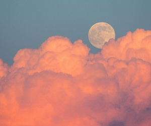 moon, pink, and clouds image