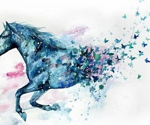 horse, art, and blue image