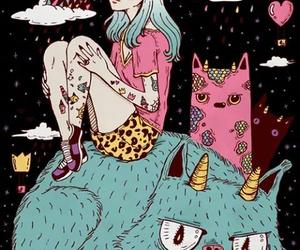 cat, art, and grunge image