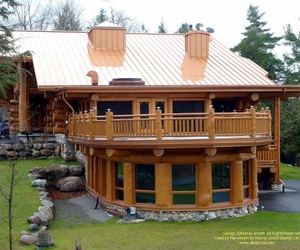 log cabin, in the country, and round deck image
