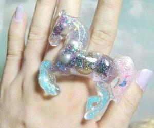 unicorn, ring, and glitter image