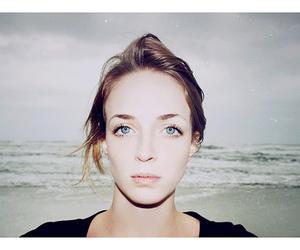 girl, eyes, and beach image