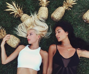 girl, pineapple, and summer image
