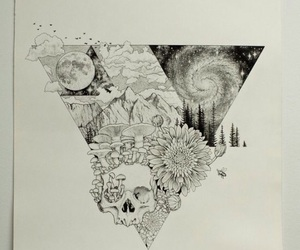 black, flowers, and drawing image