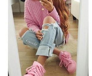 pink, hair, and adidas image
