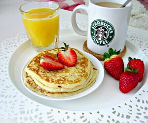 starbucks, strawberry, and breakfast image