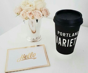 flowers, black, and coffee image