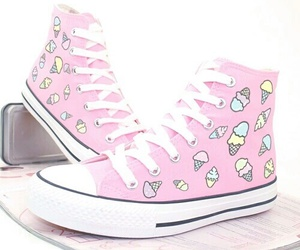 pink, converse, and ice cream image