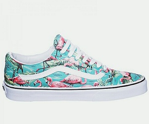 flamingo, vans, and blue&pink image