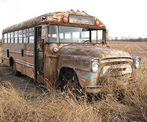 bus, old, and abandoned image