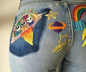 jeans, rainbow, and alien image