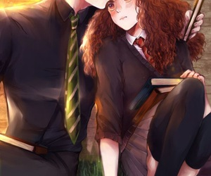 draco malfoy, hermione granger, and hp image