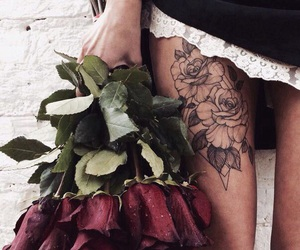 flowers, rose, and tattoo image