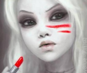 girl, red, and lipstick image