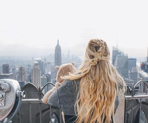 blonde, city, and hair image