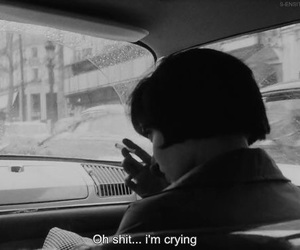 black and white, sad, and crying image