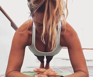 blonde, workout, and beach hair image