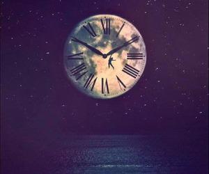 moon, clock, and night image