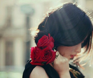 beautiful, girl, and red roses image