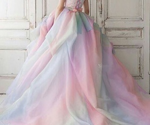 dress, beauty, and rainbow image