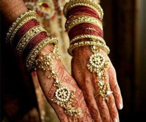 henna, jewelry, and wedding image