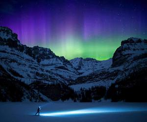 mountains and northern lights image