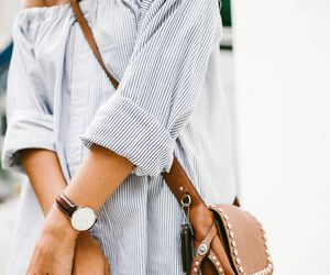 brown leather, off shoulders, and ripped shirt image