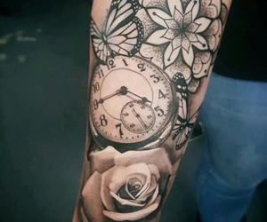 tattoo, butterfly, and clock image