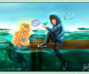 mermaid, percy jackson, and annabeth chase image