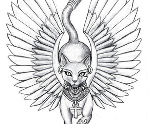 cat tattoo, drawing, and wings image