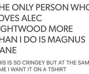 tshirt, alec lightwood, and magnus bane image