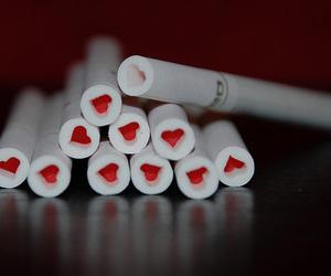 cigarette, heart, and smoke image