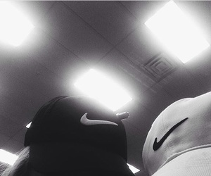 b&w, black and white, and nike image