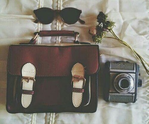 camera, vintage, and bag image
