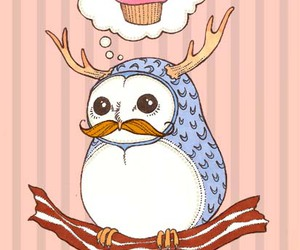 owl, cupcake, and mustache image