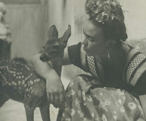 frida kahlo, deer, and black and white image