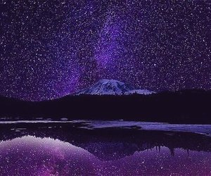 stars, mountains, and purple image