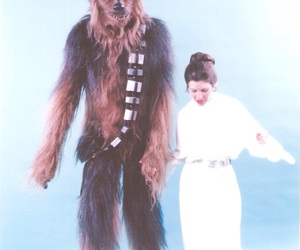 carrie fisher, leia organa, and chewbacca image