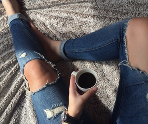 coffee break, girl, and ootd image