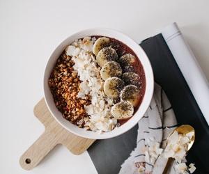 breakfast, banana, and coffee image