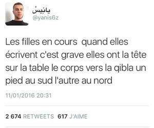 ecole, fille, and tweet image
