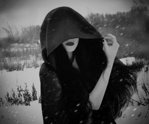 black and white, snow, and dark image