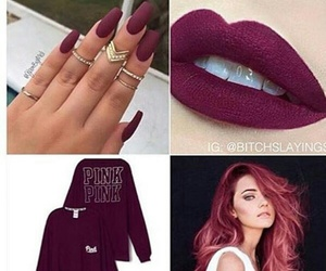 hair, lips, and maroon image
