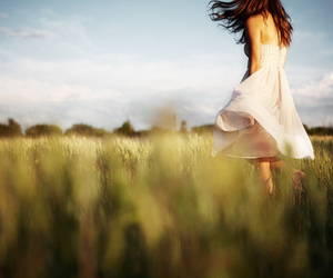 dress, grass, and pretty image